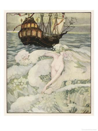 The Little Mermaid Watches a Ship