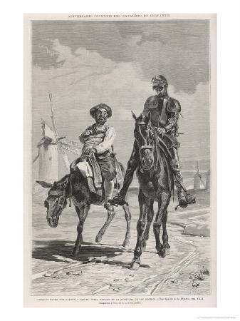 Don Quixote and Sancho Panza Discuss the Combat with the Windmills