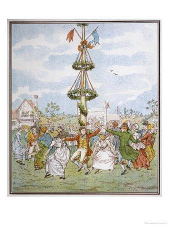 Country People Dance Round the Maypole the Girls Ducking in and out of the Ring Formed by the Men