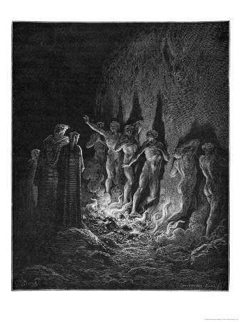 Dante and Virgil Watch as the Procession of the Damned Walk Barefoot Through the Flames of Hell