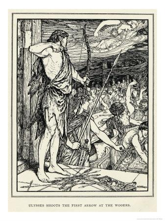 Odysseus Shoots the First Arrow at the Suitors