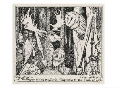 The Winning of Olwen the Stag of Redynvre Brings the Seven Companions to the Owl of Cwm Cawlwyd