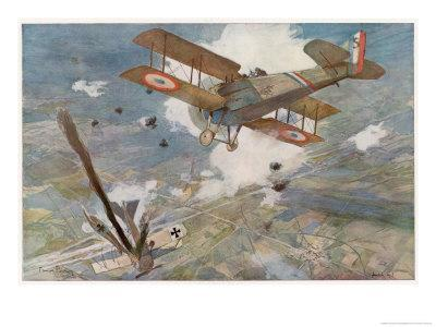 "French ""Spad"" Shoots Down a German Plane"