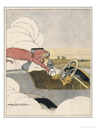 Woman at the Wheel of Her Car