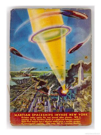 Martian Raiders Using a Terrible Weapon of Concentrated Sunlight Attack the City of New York