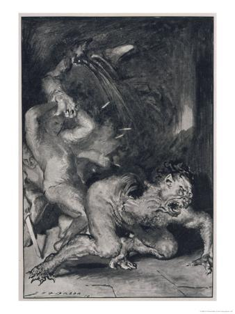 Beowulf Who Has the Strength of Thirty Men Rips off the Arm of Grendel the Monster