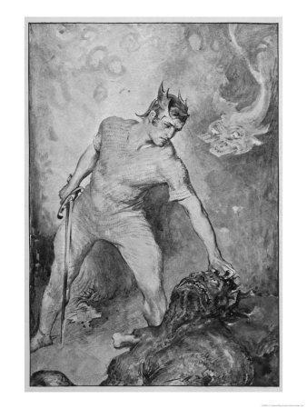 Beowulf Shears off Grendel's Head and Kills Him