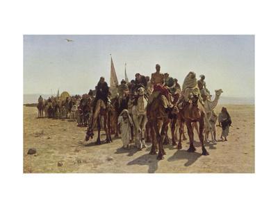 Caravan of Pilgrims Cross the Desert to Mecca