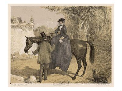 Lady in Her Riding Habit is Helped to Dismount by a Gentleman