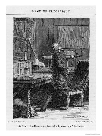 Benjamin Franklin American Statesman Scientist and Philosopher in His Physics Lab at Philadelphia