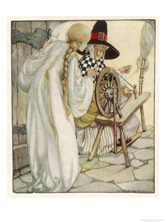 The Witch Shows Sleeping Beauty the Spinning Wheel