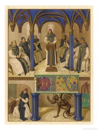 Thomas Aquinas Noted Theologian Depicted Instructing a Group of Clerics