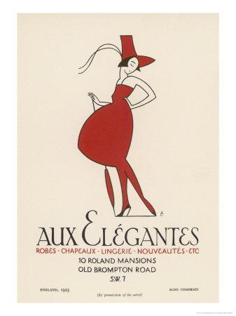 "Poster Advertising ""Aux Elegantes"" in London's Old Brompton Road"
