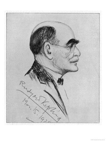 Rudyard Kipling English Writer Sketched During a Visit to Naples in March 1928