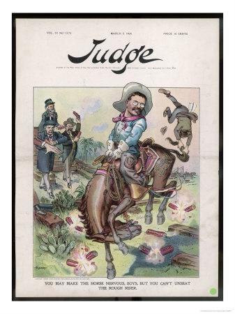 Theodore Roosevelt 26th American President Depicted as a Rough Rider