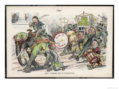 Theodore Roosevelt 26th American President Celebrating St. Patrick's Day in Washington