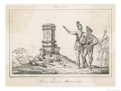 The French Coloniser Jean Ribault Sets up His Column in Florida