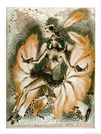 Josephine Baker Dancer in an Elaborate and Revealing Costume