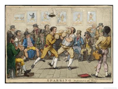 Two Pugilists Spar as a Gathering of Men Enjoy the Action