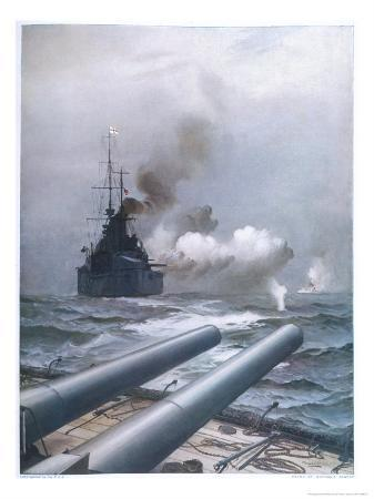 "In a Naval Engagement off Heligoland the ""Lion"" Sinks a German Cruiser"