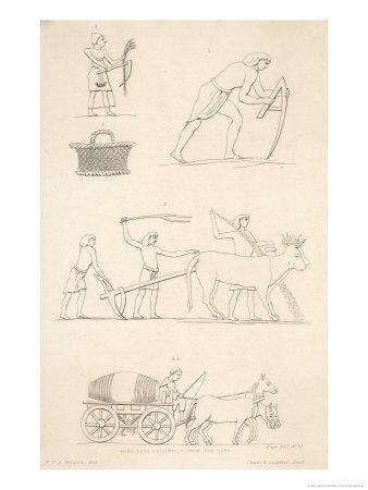 Variety of Ancient Egyptian Farming Scenes and a Horse- Pulled Wine Cask Originally from the Alps