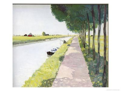 Dutch Scenery: Typical Canal with Fisherman