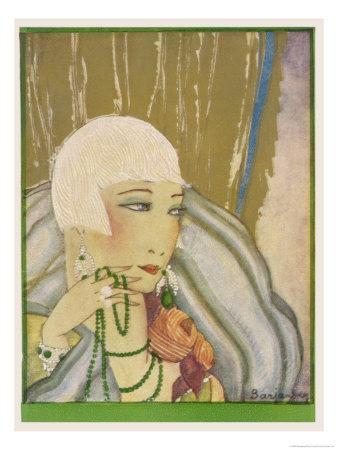 Typical Flapper with Platinum Blonde Bobbed Hair Green Eye-Shadow Rouge and Pencil Thin Eyebrows