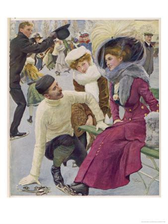 An Attentive Fellow Kneels and Enquires as to the Health of His Charming Companion