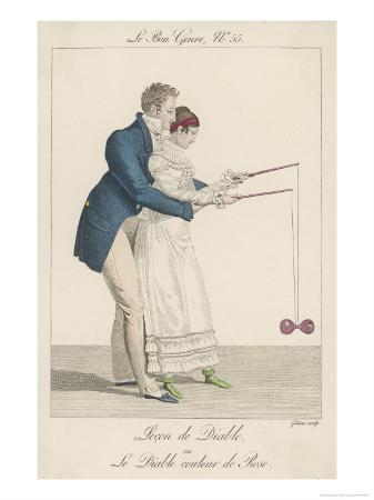 Man Helps a Lady to Start off the Diabolo on the String