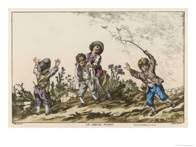 Four Boys Playing Le Cheval Fondu Known in the Uk as Itchy or Warney