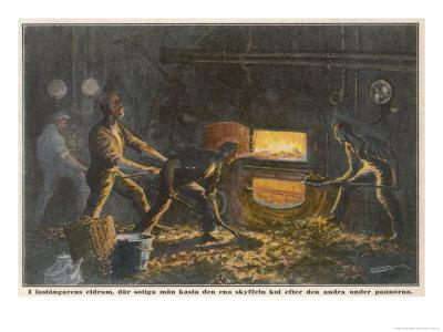 Stokers at Work in the Hold of a Coal-Burning Steamship