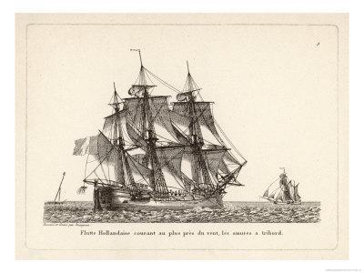 "Dutch ""Flute"" Sails Away on the Breeze"