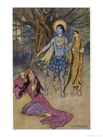 Rama the Seventh Avatar of Vishnu is Tempted by Shurpanakha a Rakshasa