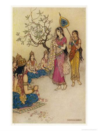 Damayanti Daughter of Bhima King of Vidarbha Chooses Prince Nala as Her Husband