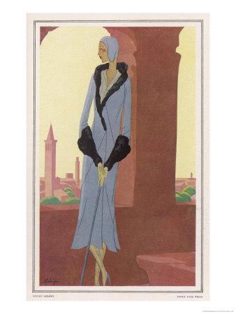 Lucien Lelong Grey-Blue Coat with Geometric Panels Flaring Hem and Deep Cuffs