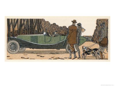 Couple in a Renault Pause to Exchange Chit-Chat with a Couple with Gun and Dogs and Gamekeeper