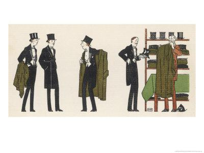 Gentlemen in Evening Dress Queue to Collect Their Overcoats from the Cloakroom