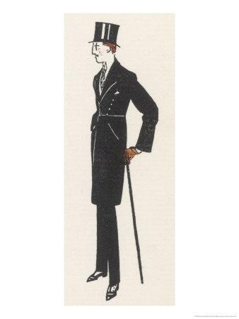 Gentleman in Evening Dress and a Topcoat Similar to a Frock Coat with a Seam at the Waist