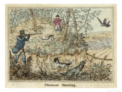 Pheasant, Two Men and Their Dogs Shoot from a Clearing