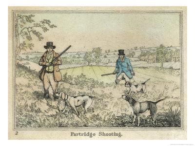 Partridge, Two Men and Their Dogs Looking for Partridge in an Open Field