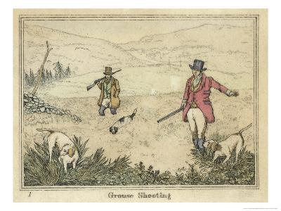 Grouse, Two Men and Their Dogs Walk up a Moor Hoping to Start up Some Grouse