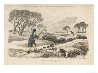 Snipe, a Hunter and His Dogs Go Snipe-Shooting in the Snow- Covered Fields