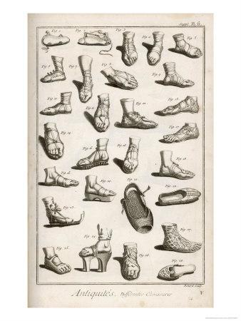 Selection of Ancient and Not So Ancient Footwear Including Various Styles of Sandal
