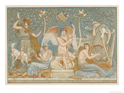 Various Musicians Playing Various Instruments: a Harp a Lyre Pipes Hunting Horn