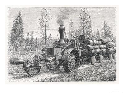 Sturdy Three-Wheeled Steam- Powered Traction Engine Used in the Timber Industry California