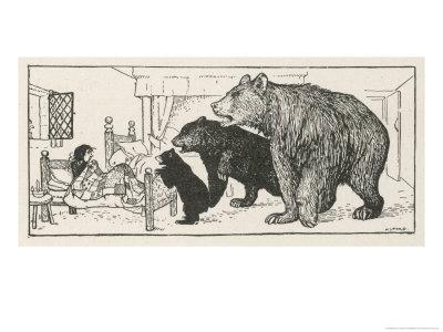 Goldilocks is Found in Baby Bear's Bed by the Three Bears