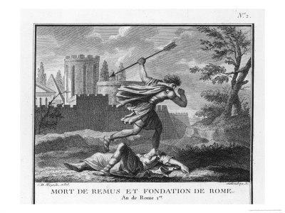 Romulus Founds Rome and Kills Remus When He Mocks It