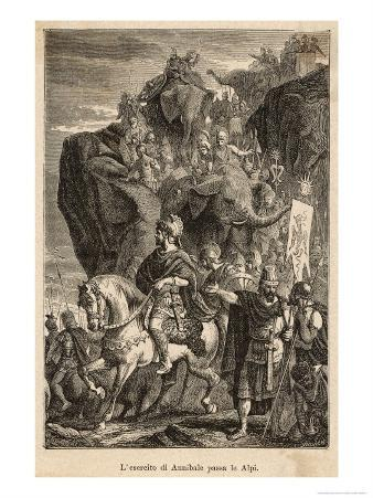 Second Punic War: Hannibal Descends into Italy after Crossing the Alps with His Elephants