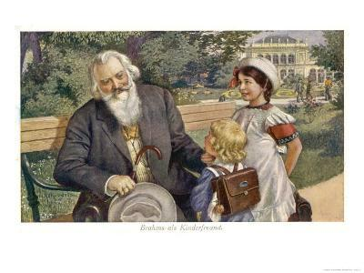 Johannes Brahms German Musician with Child Friends