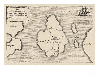 Map of Atlantis Showing Position Relative to Europe Africa and America